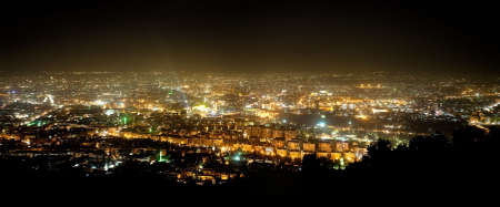 syria: Panorama of Damascus from mountain Kasun. Green lights are mosques.