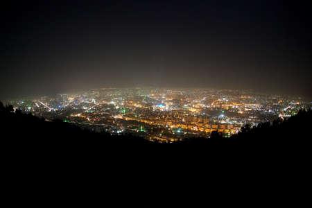 Panorama de Damas de montagne Kasun. Voyants verts sont des mosqu�es.