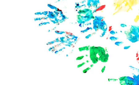 Children hand prints with toys on hand painting playground. On white