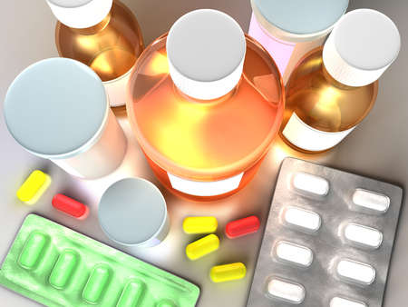 generic medicine: Set of different medicine in one place as complete treatment.