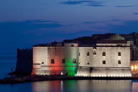 Dubrovnik old town walls by night. Harbor entrance Stock Photo - 6758227