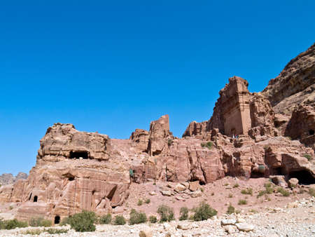 nabataeans: Tombs in Petra - Nabataeans capital city (Al Khazneh) , Jordan. Made by digging a holes in the rocks. Roman Empire period.