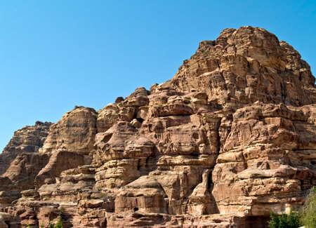 nabatean: Background wall of Nabatean passage in Petra (Al Khazneh), Jordan. Siq canyon. Stock Photo