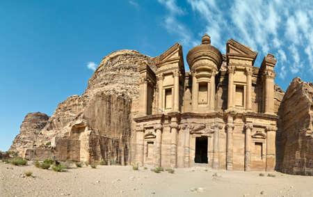 grave site: Petra - Nabataeans capital city (Al Khazneh) , Jordan. Monastery tomb. Roman Empire period. Stock Photo