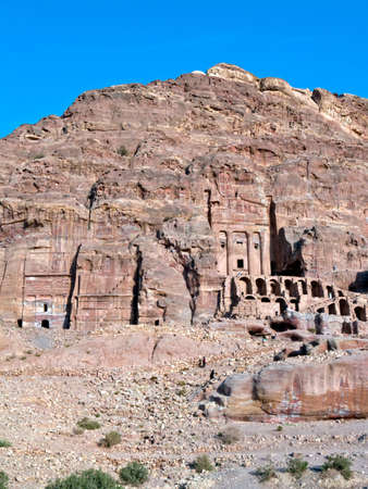 nabataeans: Petra panoramic view - Nabataeans capital city (Al Khazneh) , Jordan. Made by digging a holes in the rocks. Roman Empire period. Stock Photo