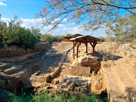 baptized: Church remains on place where Jesus was baptized in Bethany, Jordan. Roman time remains.