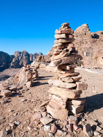 nabataeans: Path with bedouin sign in Petra - Nabataeans capital city (Al Khazneh) , Jordan. Stock Photo
