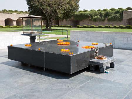 delhi: Raj Ghat, a memorial to Mahatma Gandhi is a simple black marble platform that marks the spot of his cremation.