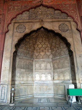 mughal: The magnificent example of Mughal architecture, Jama Masjid has three massive gateways - the largest and highest being on the east. Stock Photo
