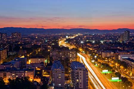 zagreb: Panorama of the Zagreb capitol of Croatia. Long exposure. Stock Photo