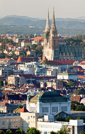 Zagreb (capitol of Croatia) cathedral with a old city panorama photo