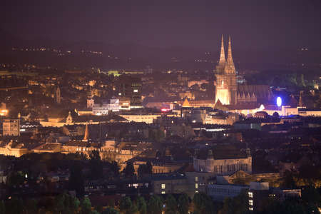 zagreb: Zagreb capitol of Croatia. Panorama by night with cathedral Stock Photo
