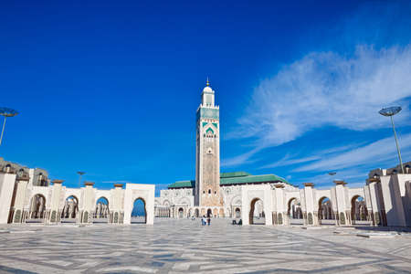 morocco: Exterior of Hassan II mosque with blue sky and cloudscape background, Casablanca, Morocco. Stock Photo