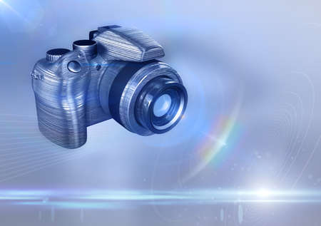 metal composition: 3D illustration of Digital DSLR camera made from steel (metal). Composition with lot of lens flares. Copyspace on the right. Stock Photo