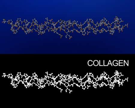 Collag�ne structure cristalline mol�cule de rendu 3D. Canal Alpha ajout� pour l'extraction facile. Repr�sentation exacte de collag�ne 1BKVA0 partir Protein Data Bank.