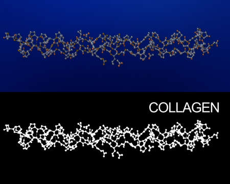 Collagen crystal structure molecule 3D rendering. Alpha channel added for easy extraction. Exact representation of collagen 1BKVA0 from protein data bank.
