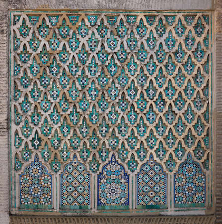 mosaic wall: Bab Mansour El Alj Gate. Wall detail. Old city Meknes (Miknasa), Morocco.