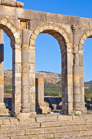 Basilica detail - Volubilis features the best preserved Roman ruins in this part of northern Africa. photo