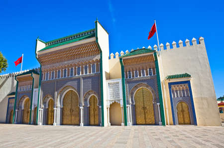 Old Golden Doors of the Royal Palace in Fes, Morocco. photo