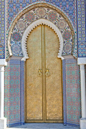 Old Golden Door of the Royal Palace in Fes, Morocco. Stock Photo - 9228300