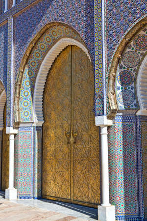 Old Golden Door of the Royal Palace in Fes, Morocco. photo
