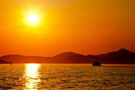 Mediterranean sunset. Location islands near Dubrovnik, Croatia photo