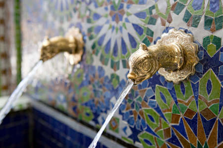 fes: Fountain - Ceramic craft from Fes (Fez) Morocco. Stock Photo