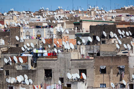 fes: Panorama of the Fes (Fez) - one of the ancient royal cities in Morocco Stock Photo