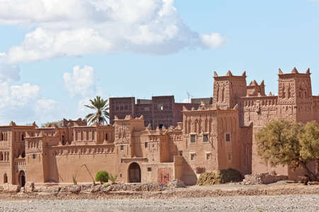 desert oasis: Fortified Mud Houses in the Kasbah, Ouarzazate, Morocco. Souss-Massa-Draâ region. Stock Photo