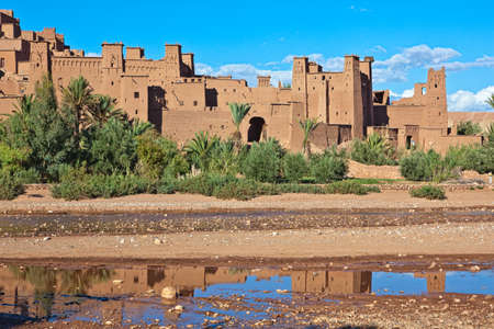 fortified: Fortified City (Ksar) with Mud Houses in the Kasbah Ait Benhaddou near Ouarzazate, Morocco. Souss-Massa-Dra&Atilde,&cent, region. Ounila River.