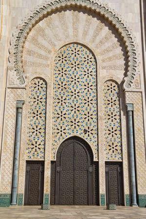 prayer tower: Exterior detail of Hassan II mosque, Casablanca, Morocco.