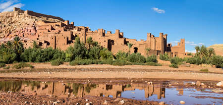 Fortified City (Ksar) with Mud Houses in the Kasbah Ait Benhaddou near Ouarzazate, Morocco. Souss-Massa-Draâ region. Ounila River. UNESCO World Heritage Site since 1987