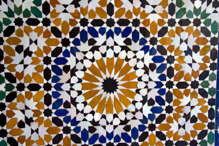 Ceramic craft from Morocco. Stage in making mosaic traditional table. photo