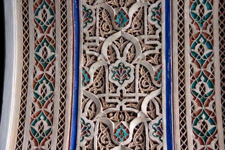 stoneworks: Old ornament detail, Morocco. Palais de la Bahia (Bahia Palace) in Marrakech