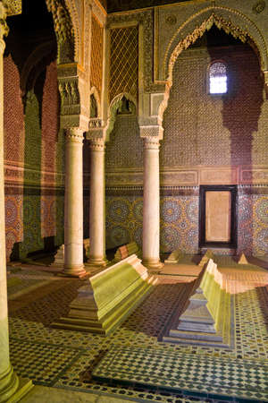 corpses: The Saadian tombs in Marrakech from the time of the sultan Ahmad al-Mansur (1578-1603). The mausoleum comprises the corpses of about sixty members of the Saadi Dynasty