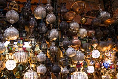 marrakesh: MARRAKESH, MOROCCO - OCTOBER, 22, 2010 - Traditional lamp shop in Marrakesh (Marrakech), Morocco.