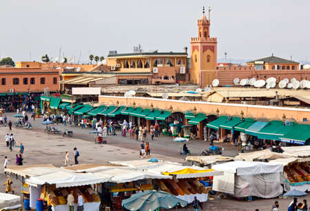 morocco: MARRAKESH, MOROCCO - OCTOBER, 22, 2010: Marrakesh (Marrakech) Jemaâ El Fna Square by day