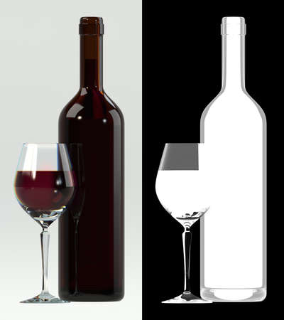 Glass of red wine with bottle. Alpha transparency on right for easily extraction and background replacement.