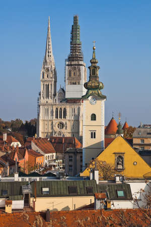 Zagreb capitol of Croatia. Cathedral in the center - old city. photo