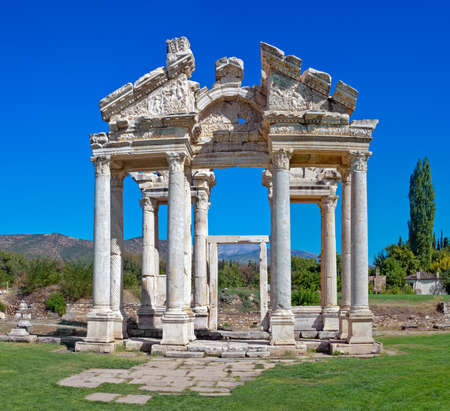 Famous Tetrapylon Gate in Aphrodisias dedicated to Aphrodite built during Hellenic era. In Roman time it was a small city in Caria. Stock Photo - 11729597
