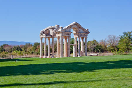Famous Tetrapylon Gate in Aphrodisias dedicated to Aphrodite built during Hellenic era. In Roman time it was a small city in Caria. photo