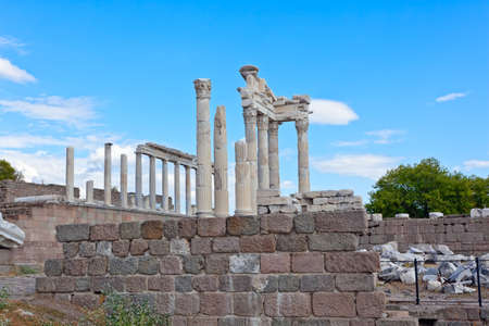 Temple of Trajan at Acropolis of Pergamon or Pergamum in Turkey. Roman period. photo