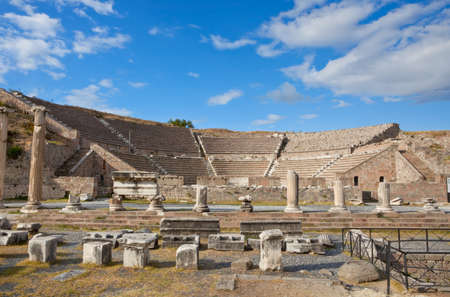 View to the Theater of Asklepion. Pergamum was something in between a sanctuary and a spa resort in Roman period. Stock Photo - 11884503