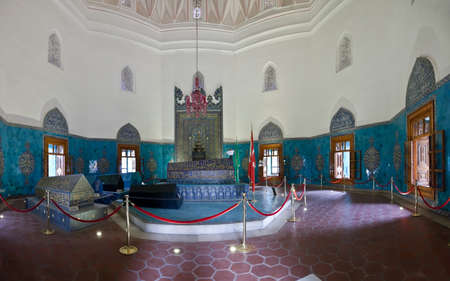 mehmet: Interior of Green Mausoleum in Bursa with The sarcophagus of Sultan Mehmet I decorated with floral designs and calligraphic inscriptions Editorial