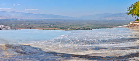 anatolia: Famous travertine terraces in Pamukkale (ancient Hierapolis), Anatolia, Turkye.