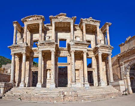Roman Library of Celsus in Ephesus (Efes) from Roman time. Stock Photo