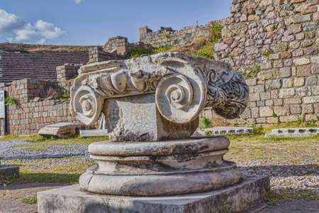 colonade: Colonade detail in front of the Theater of Asklepion in Pergamon or Pergamum, Bergama, Turkey. Pergamum was something in between a sanctuary and a spa resort in Roman period. Stock Photo