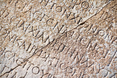 latin language: Detail with Roman inscription on latin language in Ephesus (Efes), Turkey. Editorial