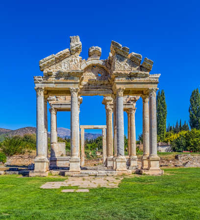 Famous Tetrapylon Gate in Aphrodisias (Turkey) dedicated to Aphrodite built during Hellenic era. In Roman time it was a small city in Caria. photo