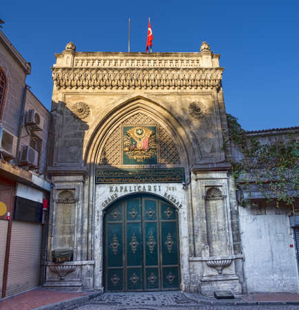 kapalicarsi: Kapalicarsi - Grand Bazaar in Istanbul is the oldest street market. Main entrance shot before opening early in the morning.